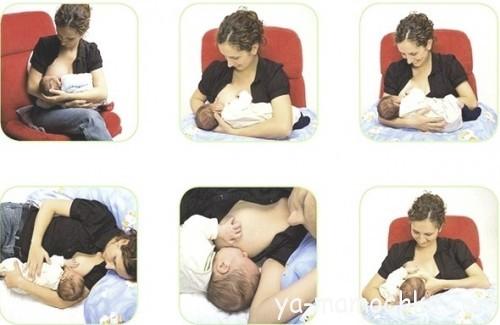 Как держать младенца во время кормления грудью